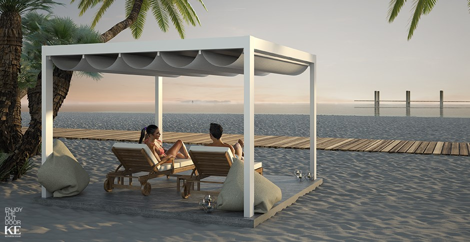pergola d 39 ombrage saki en aluminium toile manuelle vague. Black Bedroom Furniture Sets. Home Design Ideas