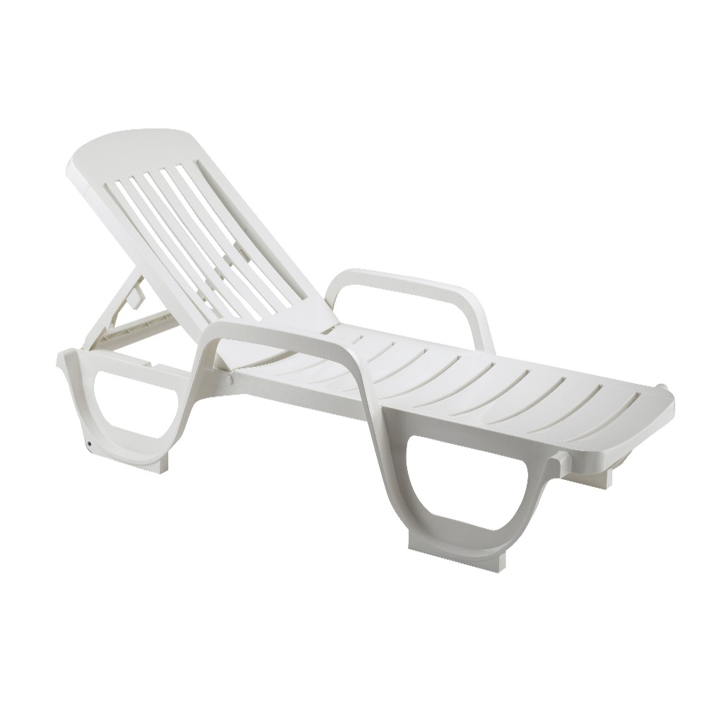 Bain de soleil miami en plastique blanc for Piscine en plastique pas cher