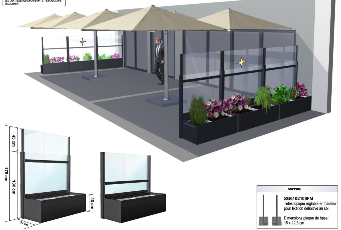 Paravent sur coté terrasse en complément des parasols