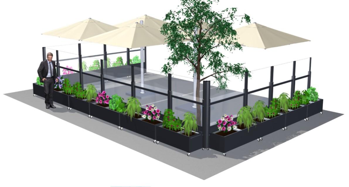 Paravents, pare-vent et  claustra télescopique avec jardinières, modèle Fleuri