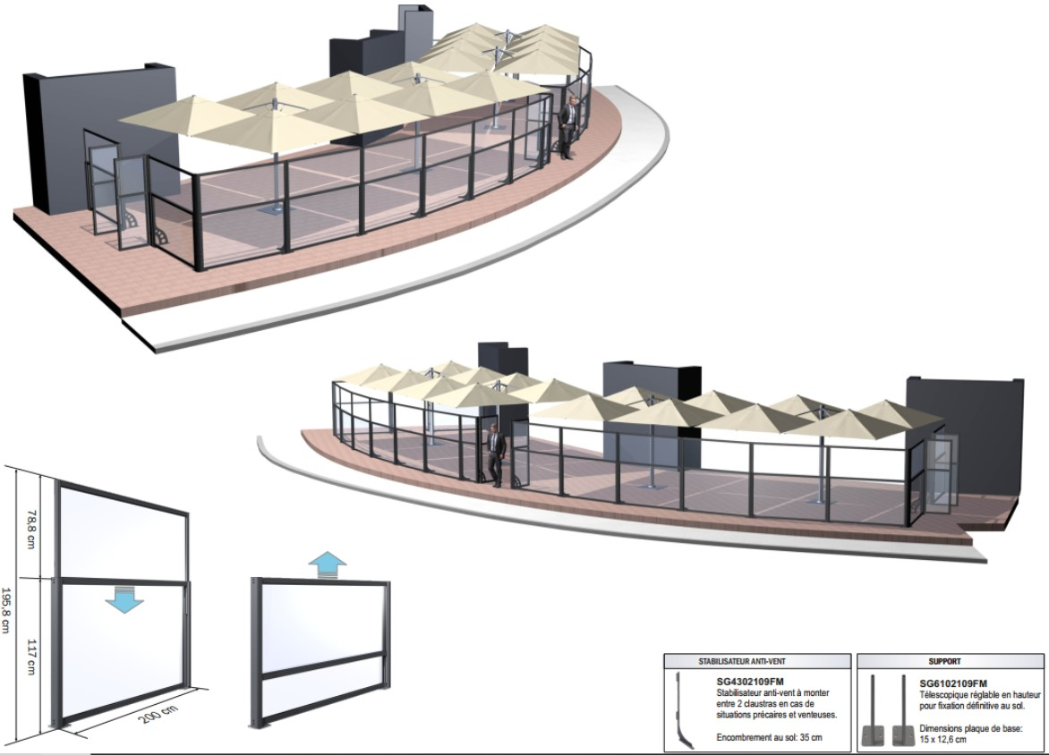 Implantation 3D des paravents sur une terrasse en cercle en complément des parasols