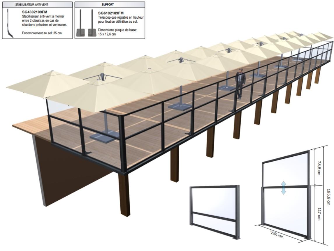 Paravent sur terrasse en hauteur, claustra télescopique de e-terrasses