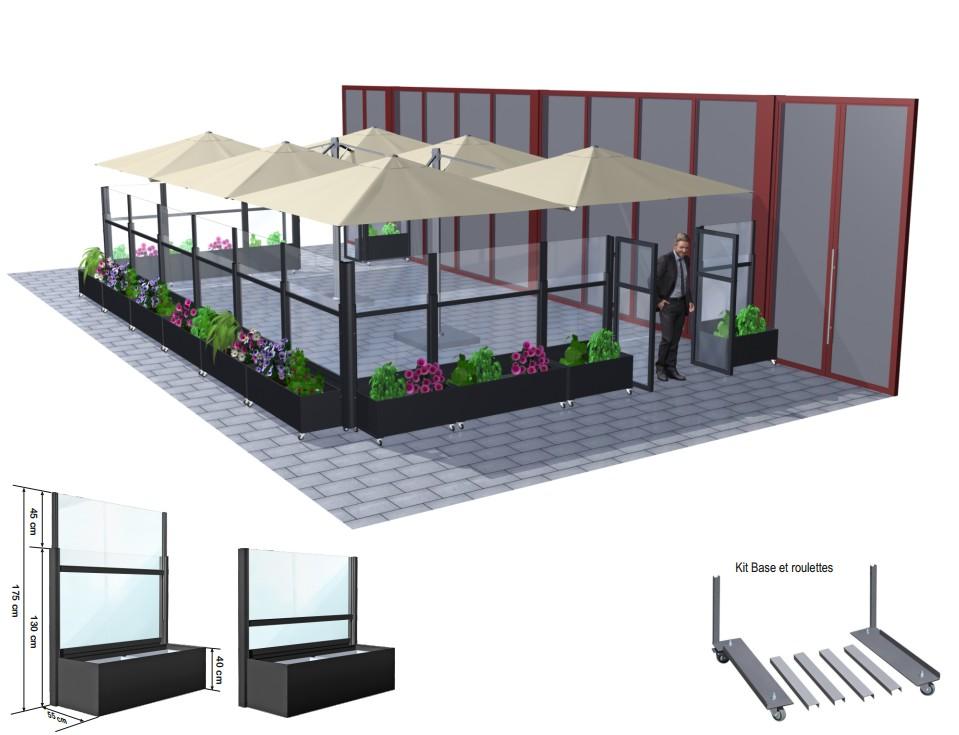 Pare-vent télescopiques Star Progetti et parasols professionnels Prostor QUATTRO pour terrasse