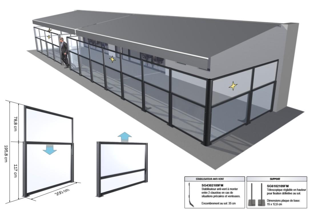 séparateurs terrasse restaurant en complément des stores