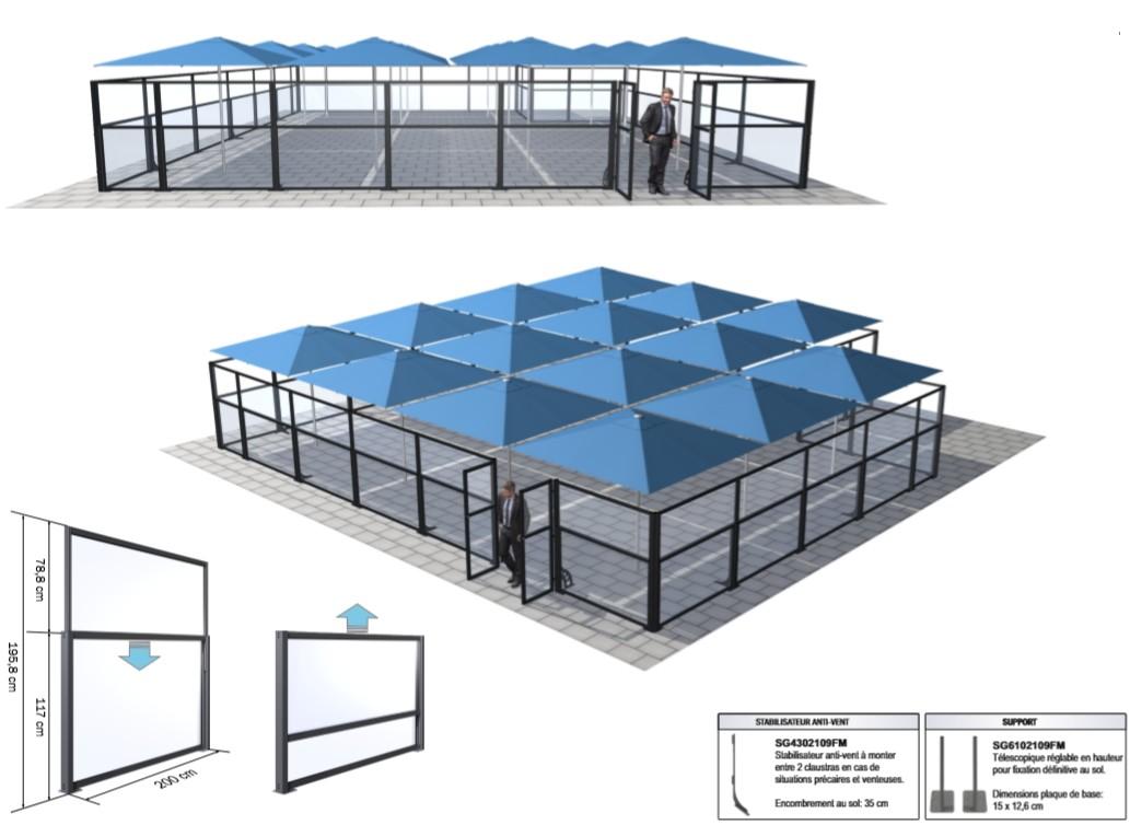 3D grande terrasse de restaurant avec implantation claustra en complément parasols P6 Quattro