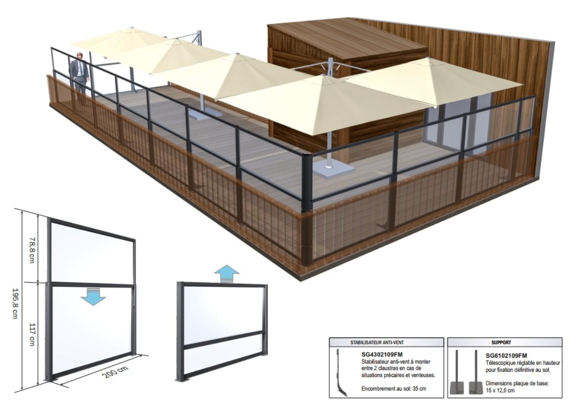 Paravent, pare-vent et claustra télescopique star progetti, parasol, pour hôtels, restaurants, bars