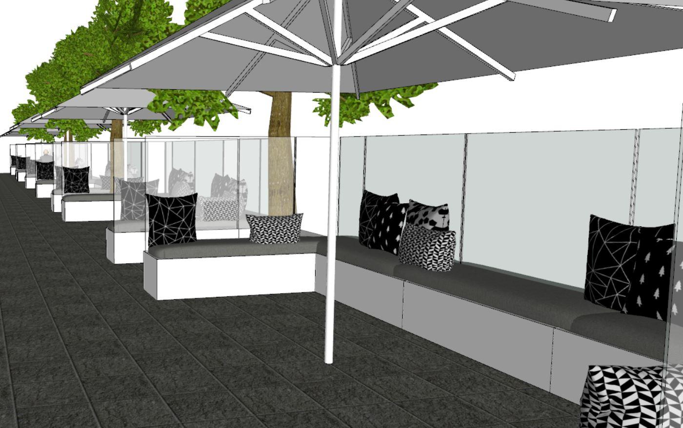Paravent Vanhoof en complément des parasols professionnels e-terrasses