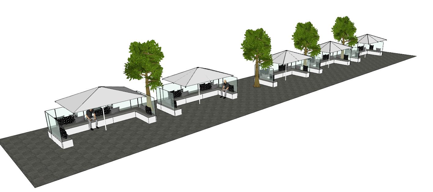 Etude E-Terrasses en 3D paravent et parasols pour hôtel Accor