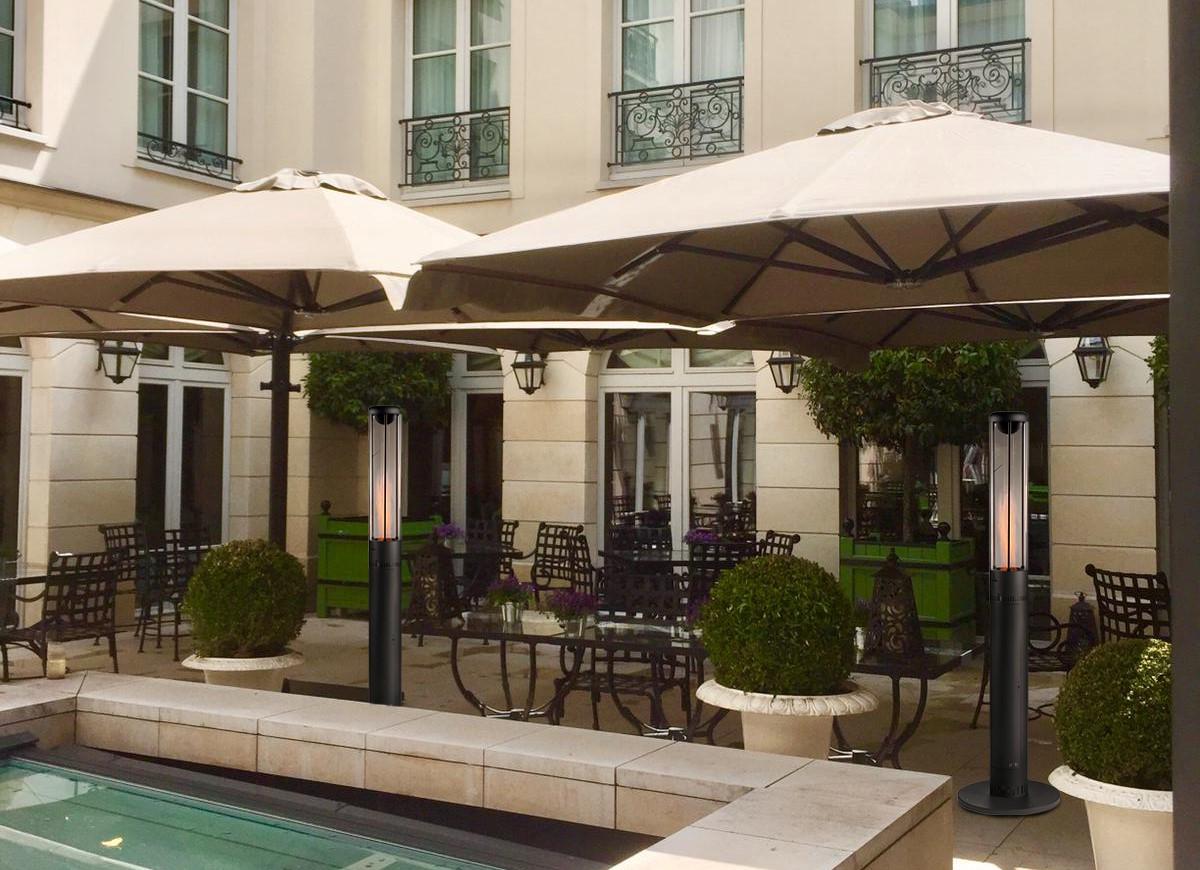 Chauffage extérieur de terrasse aux granulés, pellets pour restaurant, hôtel et bar