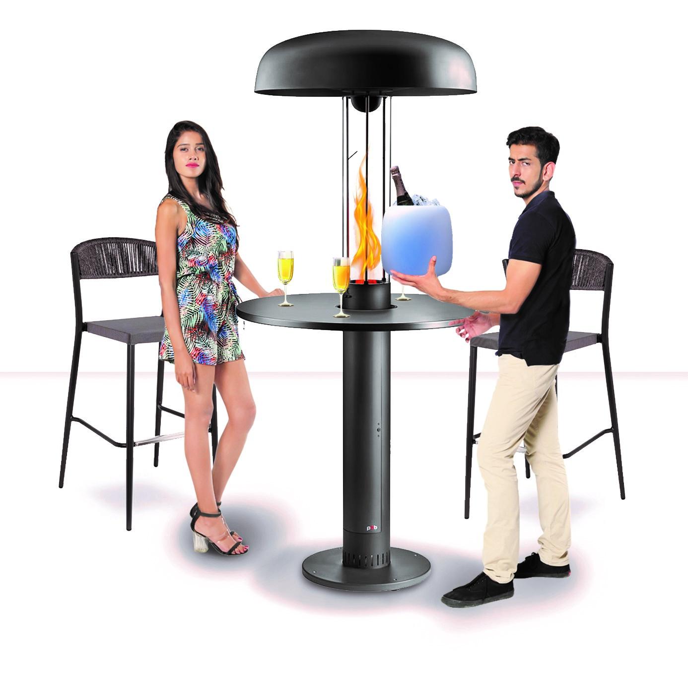 Table haute chauffante avec chauffage au granulés, pellets pour terrasse de bars, restaurants
